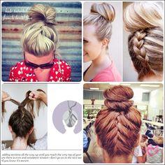 learn how to do simple French braid bun updo hairstyles for medium length hair.