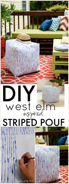 WEST ELM INSPIRED STRIPED POUF. Fun home decor piece.