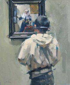 """Maggie Siner """"Vermeer with Headphones"""", 2007, 20 x 24 ins, oil on linen"""