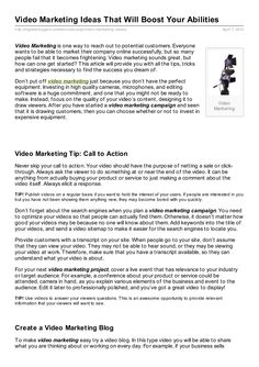 Video Marketing Ideas That Will Boost Your Abilities Sounds Great, Articles, Marketing