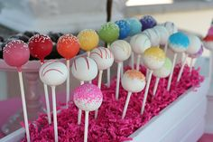 Good idea to use crinkle paper (comes in all colors) to cover styrofoam for cake pops. Cheaper than using candy.