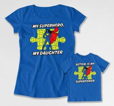 Mommy and Daughter Outfits Matching Set Autism Shirts Mother Daughter Gift Autism Hero Superhero T Shirt Bodysuit Youth Tee FAT-738-743