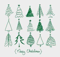 Stick figure, Christmas tree, Christmas, painting, vector