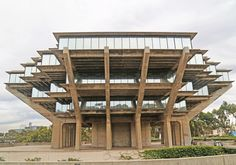 William Pereira's 1968 Geisel Library at the University of California, San Diego, appears to hover above the ground.