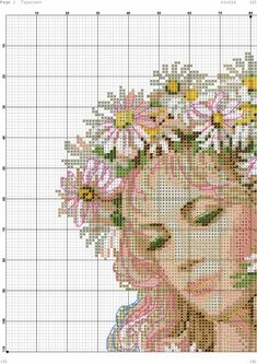 mare filla i Cross Stitch Fairy, Cross Stitch Angels, Wedding Cross Stitch Patterns, Counted Cross Stitch Patterns, Cross Stitch Pictures, Alice, Stitch 2, Needlework, Daisy