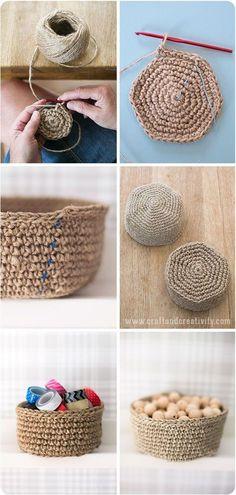 Linen twine baskets - Free crochet pattern, Craft & Creativity - Another! Yarn Projects, Knitting Projects, Crochet Projects, Knitting Patterns, Crochet Patterns, Crochet Home, Diy Crochet, Crochet Crafts, Chunky Crochet
