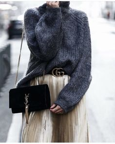 Metallic midi skirt, grey sweater, YSL bag and Gucci double G belt | winter style | winter fashion | streetstyle | winter look | outfit