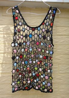 Crochet Cropped Vest Polka Dot