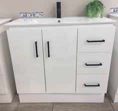 Aqua Freestanding Bathroom Vanity Cabinet with Black Handles and Ceramic Inset Basin Bathroom Vanity Cabinets, Laundry In Bathroom, Inset Basin, Vanity Basin, Dream Bathrooms, Locker Storage, Your Style, Aqua, Furniture