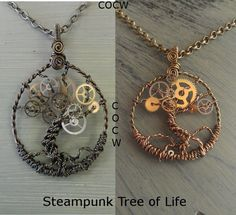 Steampunk Tree of life necklace. I don't know much about steampunk but I definitely want to learn Wire Wrapped Jewelry, Wire Jewelry, Jewelry Crafts, Beaded Jewelry, Jewelery, Handmade Jewelry, Wire Crafts, Tree Of Life Jewelry, Tree Of Life Necklace
