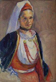 Italian girl, oil on card,