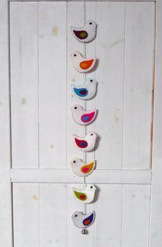 Colorful felt birds wall hanging - 8 birds