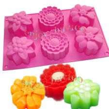 6-Cavity Mixed Flowers Silicone Mould Molds Soap Cupcakes Making for HomeMade
