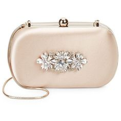 Badgley Mischka Embellished Convertible Clutch (10580 RSD) ❤ liked on Polyvore featuring bags, handbags, clutches, purses, beige purse, convertible clutch, badgley mischka purses, embellished purse and badgley mischka