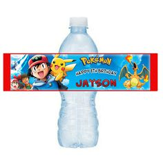 printable - Pokemon Birthday water bottle label | Mary_Party_Supply - Paper/Books on ArtFire