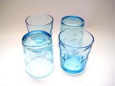 Vintage Double Rock Glasses, Inverted Thumbprint, Set of 4 Turquoise Tumblers, Old Fashioned, Vintage Glassware, Kitchen Decor by SharetheLoveVintage on Etsy