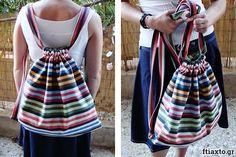 10 εύκολα project ραπτικής για αρχάριους - Ftiaxto.gr Drawstring Backpack, Backpacks, Sewing, Bags, Fashion, Handbags, Moda, Dressmaking, Couture