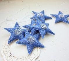 felt blue stars ornament newborn baby boy by wirefoxjewellery