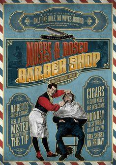 BARBER SHOP printed on blueback paper