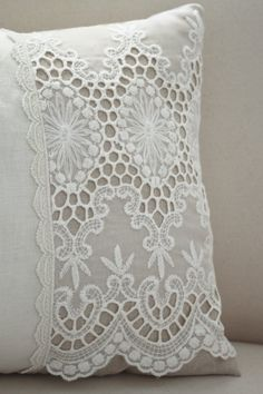 Vintage French cutwork embroidery pillow w/cream medallion and scalloped design One of a kind designed pillow from