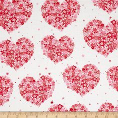 Michael Miller Sweetheart Hearts & Flowers Red from @fabricdotcom Designed for Michael Miller, this cotton print fabric is perfect for quilting, apparel and home decor accents. Colors include red, pink, and white.