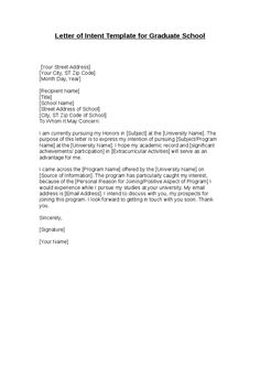 ideas about Graduate School on Pinterest   Personal     Letter Of Intent
