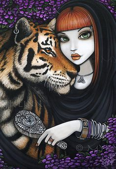 Tiger Fae Soul Mates Fantasy Goddess Flower Sam by MykaJelina