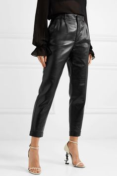 Find and compare Leather straight-leg pants across the world's largest fashion stores! Casual Outfits, Fashion Outfits, Fashion Styles, Black Outfits, Women's Fashion, Classy Street Style, Elephant Pants, Leather Trousers, Cool Style