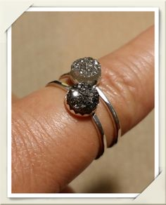 Druzy Crystal Stacking Rings, Sterling Silver by Panache808Designs, $15.00