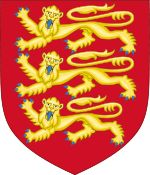 Royal Arms of England (1198-1340).svg The arms on the second Great Seal of King Richard the Lionheart, used by his successors until 1340: Gules, three lions passant guardant in pale or (Three golden lions on a red field, representing the ruler of the Kingdom of England, Duchy of Normandy and the Duchy of Aquitaine).[4][5]