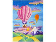 Dessin pour enfant montrant des montgolfières au coucher du soleil.