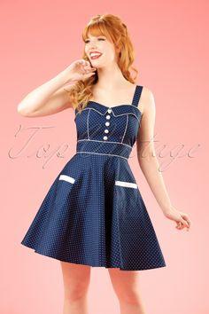 Vanity Pin Dots Mini Swing Dress in Navy Frankenstein, Robe Swing, Swing Dress, Vintage Inspired Dresses, Vintage Dresses, Robes D'inspiration Vintage, Pin Up Kleidung, Robes Pin Up, Navy Mini Dresses