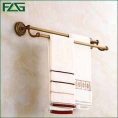 59.40$  Buy now - http://ali918.worldwells.pw/go.php?t=32740792033 - FLG 100% Brass Bathroom Double Rods Towel Bars Rack Wall-Mounted Antique Towel Hanging Shelves High Quality,Free Shipping 80108 59.40$