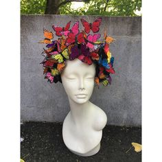 Butterfly Headpiece Butterfly Headdress-Derby-Spring Fascinator-Derby... ($260) ❤ liked on Polyvore featuring accessories and hair accessories