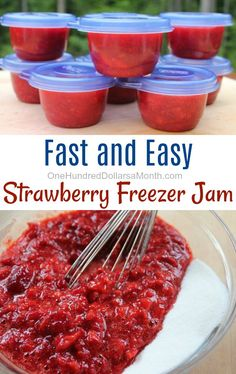 Fast and Easy Strawberry Freezer Jam - Canning Recipes - Frozen Fruit Recipes Freezer Jam Recipes, Jelly Recipes, Canning Recipes, Fruit Recipes, Easy Canning, Canning 101, Pressure Canning, Freezer Meals, Recipies