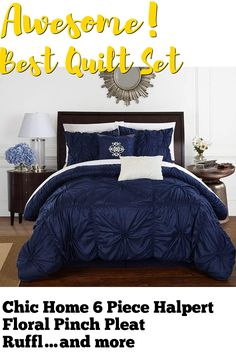 (This is an affiliate pin) Chic Home 6 Piece Halpert Floral Pinch Pleat Ruffled Designer Embellished Queen Comforter Set Navy