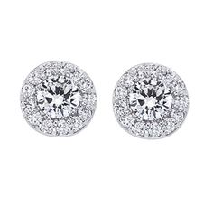 These classic halo diamond stud earrings featuring two Forevermark diamonds, will put a classic finish to every look.