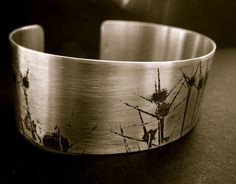 Silver Allium print cuff $72 http://www.etsy.com/shop/hybridhandmade