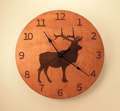 Elk laser cut clock Deer clock Wood clock by BunBunWoodworking