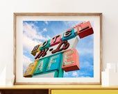 Colorful cafe sign | Mid Century Modern Neon Sign Wall Art. Great for the retro kitchen.