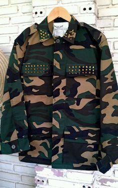 DIY Studded Military Camo Jacket / Studded by KodChaPhorn on Etsy