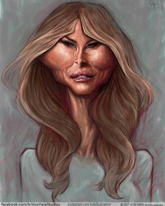 I painted a caricature of the first lady Trump Cartoons, Famous Cartoons, Clown Faces, Cartoon Faces, Cartoon Art, Caricature Artist, Caricature Drawing, Funny Caricatures, Celebrity Caricatures