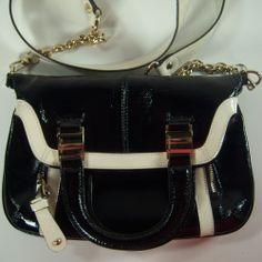 B Makowsky Handbag Crossbody Convertible Clutch Black  Cream Patent Leather  #BMakowsky #MessengerCrossBody