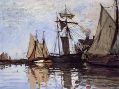 Boats in the Port of Honfleur By Claude Monet