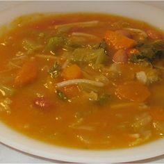 Pumpkin, beans and vegetable soup - Couldn't be more healthy! Portuguese Bean Soup, Portuguese Recipes, Bean And Vegetable Soup, Veggie Soup, Sweets Recipes, Soup Recipes, Cooking Recipes, Cheesy Potato Soup, Turkey Soup