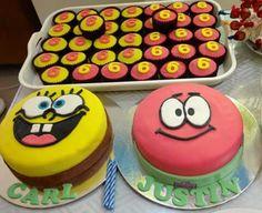 Spongebob Cake, Patrick Cake, & Numbered Cupcakes