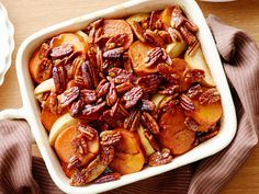 Whiskey-Glazed Sweet Potatoes Recipe : Guy Fieri : Food Network - Guy adds a bit of whiskey to his mixture of sweet potatoes and apples and sweetens the dish with agave nectar. Good Sweet Potato Recipe, Sweet Potato Side Dish, Sweet Potato And Apple, Potato Sides, Potato Side Dishes, Sweet Potato Casserole, Sweet Potato Recipes, Top Recipes, Side Dish Recipes