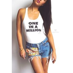 Love it babe. Love it babe. Get the One In A Million #tank from #Supercolour available now at www.shopsupercolour.com #vintage #studded hieroglyphics #levis #cutoffs #denim #aaliyah #rnb #90s