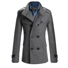Men's Double Breasted Trench Pea Coat Coat Tops Outwear Jacket Overcoat (M ( UK8), Grey)