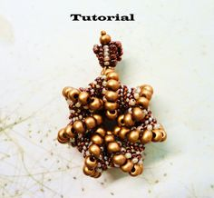 PDF for beadweaving pendant beading tutorial - beadwoven Cellini spiral beading pattern beaded seed bead jewelry - ROYAL CROWN